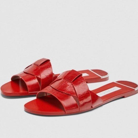 Zara Red Leather Crossover Slide Sandals Sz 38